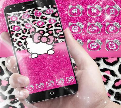Pink Silver Diamond Leopard Kitty Theme screenshot 2