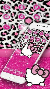 Pink Silver Diamond Leopard Kitty Theme screenshot 3