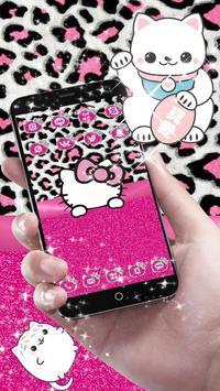 Pink Silver Diamond Leopard Kitty Theme screenshot 4