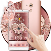 Rose Gold Love Hearts Butterfly Theme icon