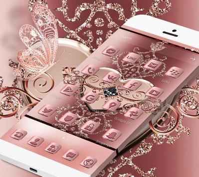 Rose Gold Love Hearts Butterfly Theme apk screenshot