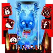 Blue Bloody Skull Theme icon
