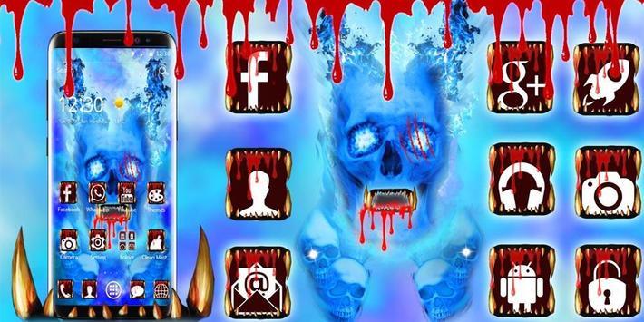 Blue Bloody Skull Theme screenshot 5