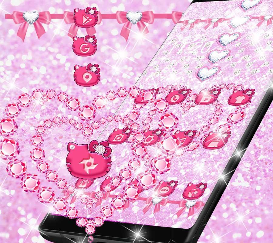 Sweet Kitty Theme Pink Heart Diamond Wallpaper For Android