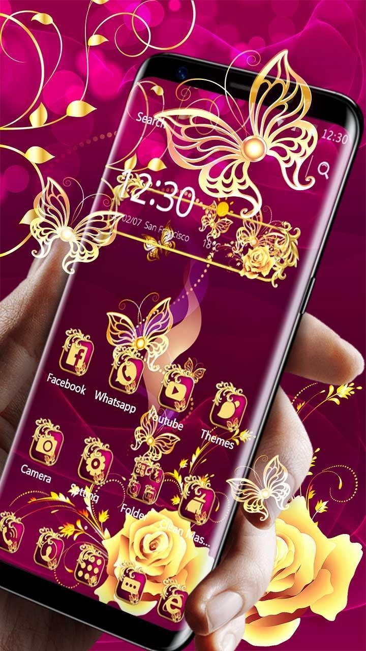 Android 用の 豪華な光沢のある金色のバラのテーマ 高級ロマンチックな