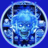 Blue Fire Skull icon