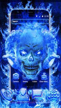 Blue Fire Skull poster