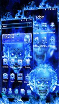 Blue Fire Skull Theme apk screenshot