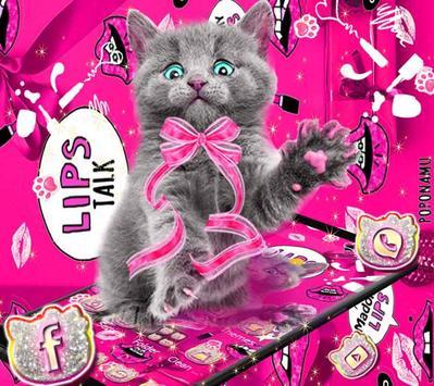 amusing cute cat theme pink wallpaper poster