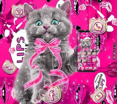 amusing cute cat theme pink wallpaper screenshot 1