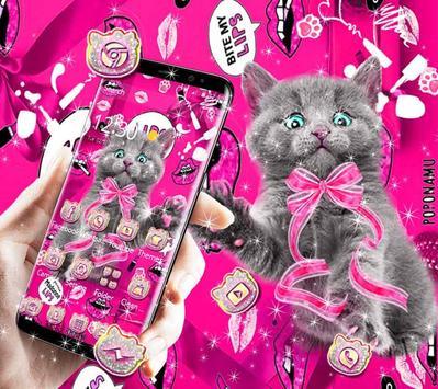 amusing cute cat theme pink wallpaper screenshot 2
