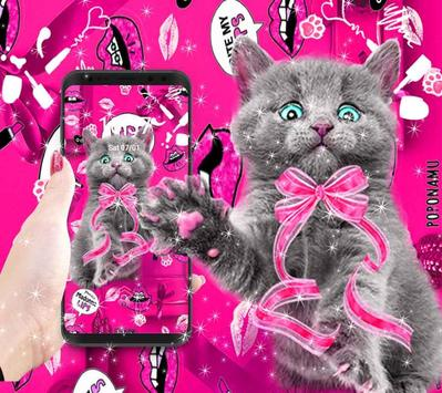 amusing cute cat theme pink wallpaper screenshot 3