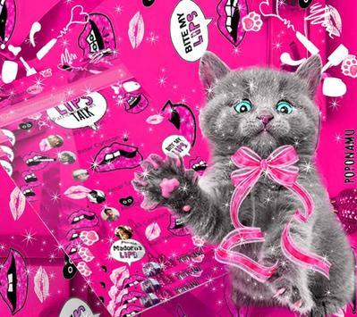 amusing cute cat theme pink wallpaper screenshot 4