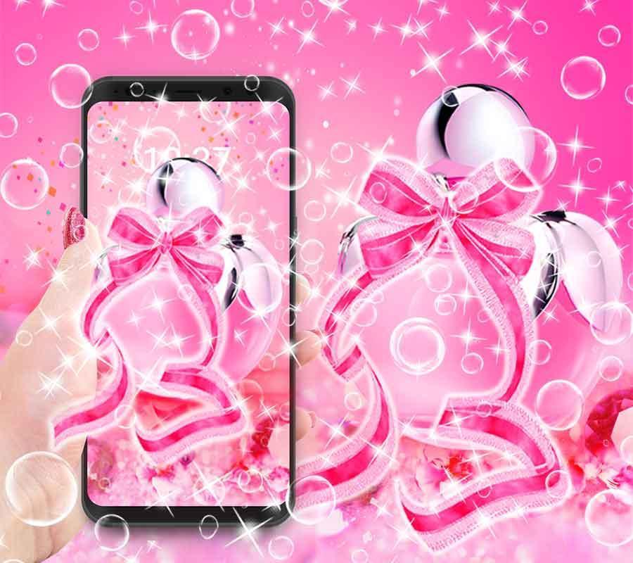 Cute Pink Kitty Theme Bow Wallpaper Screenshot 3
