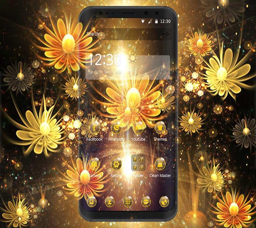 golden flower theme beauty golden wallpaper for Android - APK Download