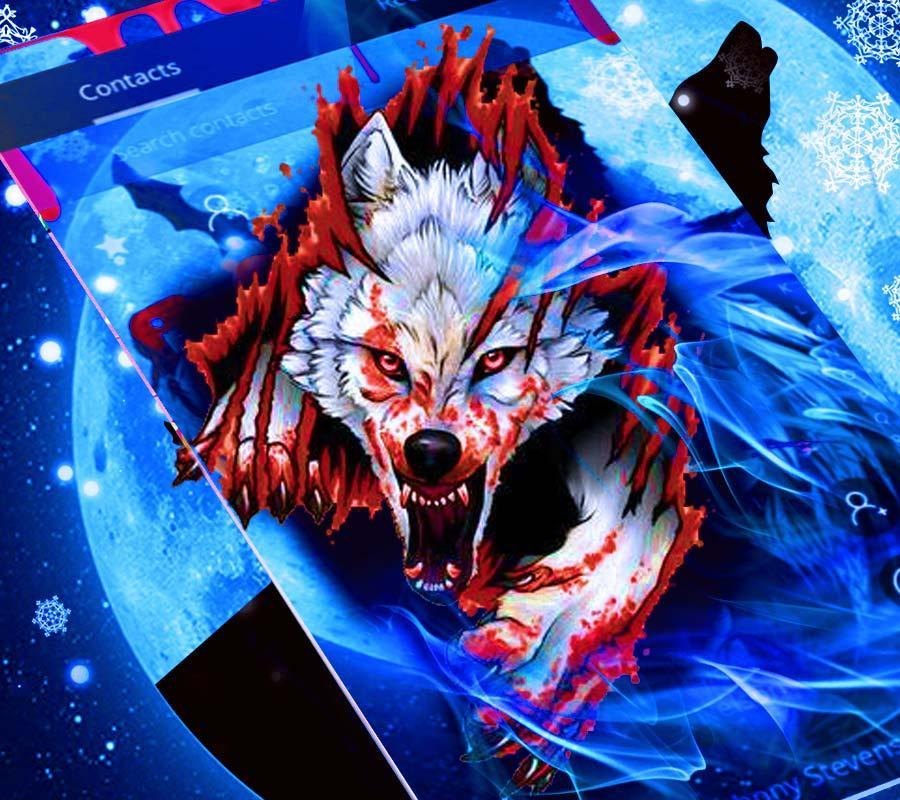 Wild Wolf Theme Blue Blood Drops Wallpaper for Android - APK