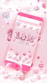 New Year Pink Kitty Theme screenshot 1