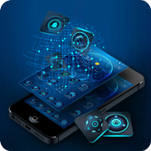 Blue technology theme icon