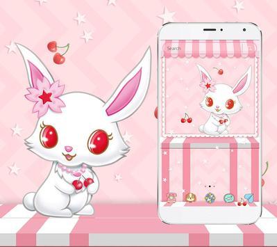 White Cute Rabbit Theme poster