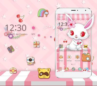 White Cute Rabbit Theme screenshot 1