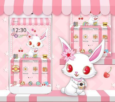 White Cute Rabbit Theme screenshot 2