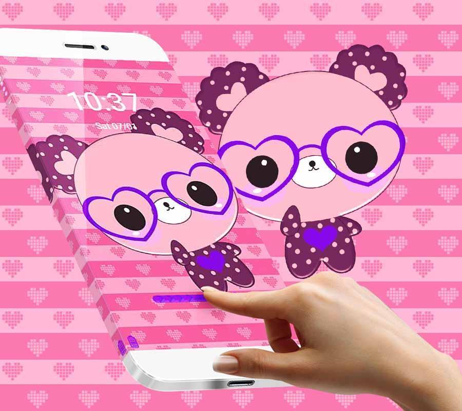 ... cute cartoon pink bear theme cartoon wallpaper screenshot 3 ...