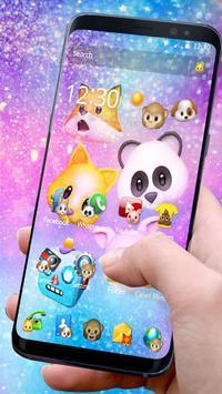 Тема смешной животного Emojis постер