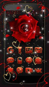 Lovely Red Sparkle Flowers Golden Hearts Theme poster