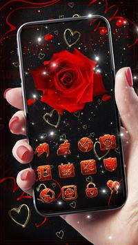Lovely Red Sparkle Flowers Golden Hearts Theme screenshot 1