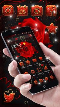 Lovely Red Sparkle Flowers Golden Hearts Theme screenshot 2