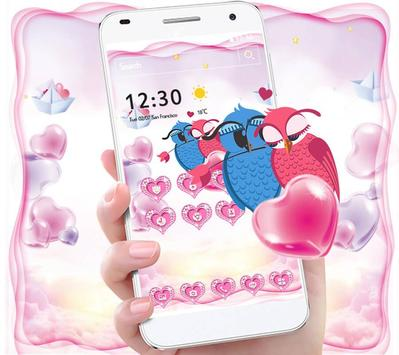 Cute Pink Hearts Owl Couple Valentine Theme poster