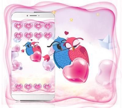 Cute Pink Hearts Owl Couple Valentine Theme screenshot 1