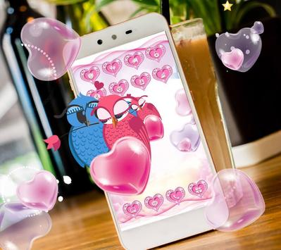 Cute Pink Hearts Owl Couple Valentine Theme apk screenshot