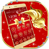 Gold red bow to cool texture phone theme icon