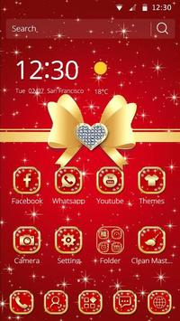 Gold red bow to cool texture phone theme apk screenshot