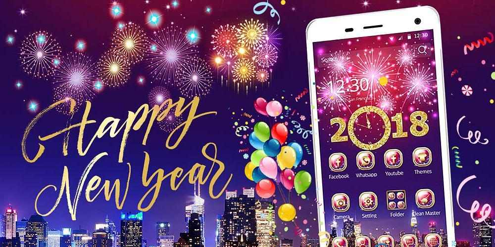 happy new year mobile theme poster