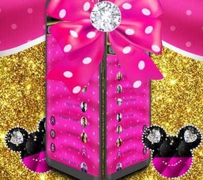 Pink golden Minny diamond Theme apk screenshot