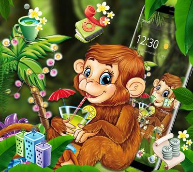 Cute Monkey Drinking Juice Theme poster