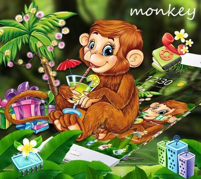Cute Monkey Drinking Juice Theme screenshot 1