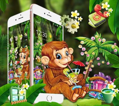Cute Monkey Drinking Juice Theme screenshot 2