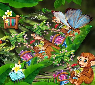 Cute Monkey Drinking Juice Theme screenshot 3