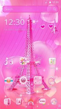 Pink Paris Eiffel Tower Launcher Theme poster