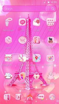 Pink Paris Eiffel Tower Launcher Theme screenshot 1
