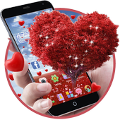 Romantic Valentine's day, a heart shaped love tree icon
