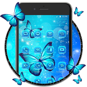 Indigo Neon Butterfly Theme icon