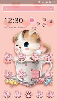 Charming Pink cat Theme poster