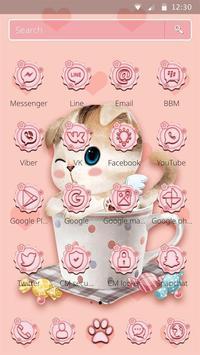 Charming Pink cat Theme screenshot 1