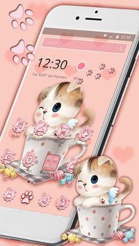 Charming Pink cat Theme screenshot 3