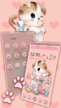 Charming Pink cat Theme screenshot 4