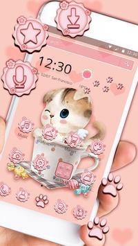 Charming Pink cat Theme screenshot 5
